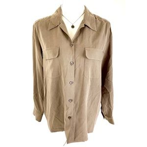 TOMMY BAHAMA Brown Silk Button Down Blouse